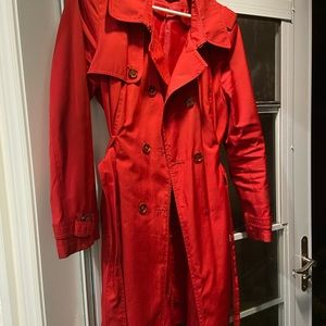 69% OFF! Victoria Secret (Vero Moda) Double Breasted Belted Trench Coat in Red